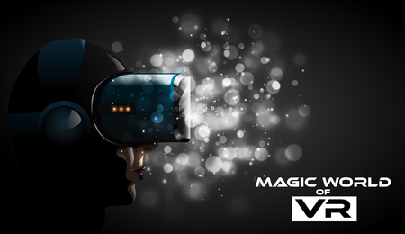 Illustration pour Vector young pretty woman wearing virtual reality headset 3d glasses. Game anime movie style character for vr cover label. Dramatic white bokeh lights background. Futuristic cyber passion impression - image libre de droit