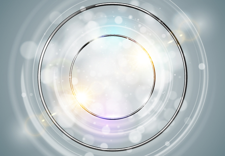 Abstract ring background. Metal chrome shine round frame with light circles and spark light effect. Vector sparkling glowing stainless steel cover. Space for your message