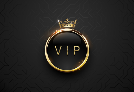 Illustration for Vip black label with round golden ring frame sparks and crown on black geometric background. Dark glossy premium template. Vector luxury illustration - Royalty Free Image