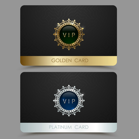 Illustration pour Vector golden and platinum VIP card template. Crown round frame with gem on a black geometric pattern background. Jewel label design plastic card with metallic line. - image libre de droit