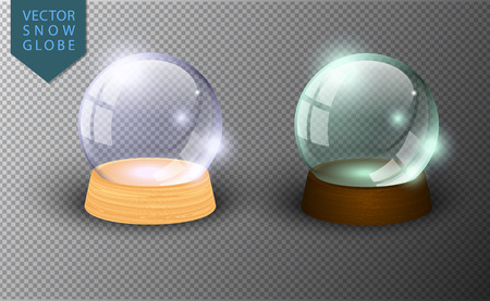 Illustration for Vector snow globe empty template isolated on transparent background. Christmas magic ball. Glass ball dome, wooden stand. Realistic traditional winter holiday crystal. Xmas toy sphere - Royalty Free Image