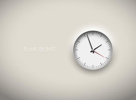 Illustration pour Vector cut out white round clock time business background. Black simple round scale. Icon design or ui screen interface element - image libre de droit