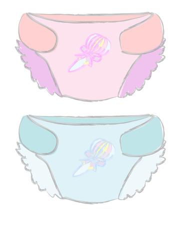 Illustration pour Illustration of disposable diapers or diaper babies, vector - image libre de droit