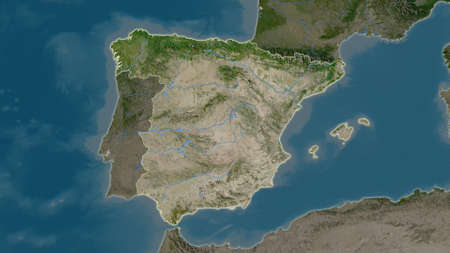 Photo pour Spain area map in the Azimuthal Equidistant projection. satellite imagery. Full composition of rasters without borders - image libre de droit