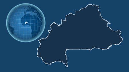 Foto de Burkina Faso. Globe with the shape of the country against zoomed map with its outline isolated on the blue background. shapes only - land/ocean mask - Imagen libre de derechos