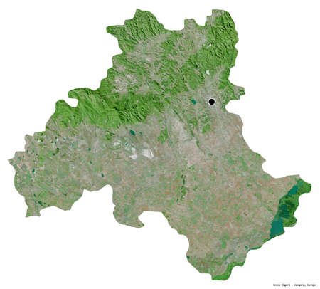 Photo pour Shape of Heves, county of Hungary, with its capital isolated on white background. Satellite imagery. 3D rendering - image libre de droit