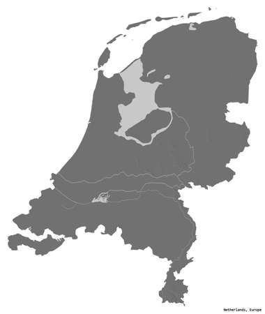 Photo pour Shape of Netherlands with its capital isolated on white background. Bilevel elevation map. 3D rendering - image libre de droit