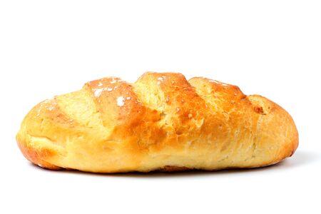Foto für Homemade white bread or loaf, close-up, white background, copy space, isolate. - Lizenzfreies Bild