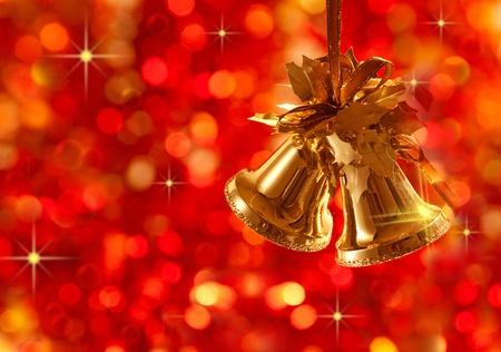 Photo pour Gold Christmas tree decorations on lights background - image libre de droit