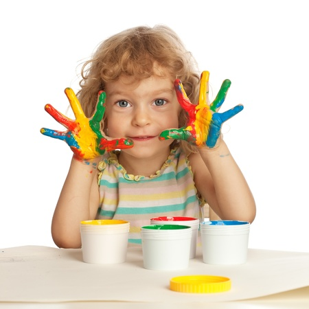 Happy child with finger paint isolated on white