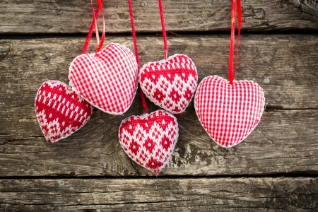 Hearts on wooden background  Valentine s day concept