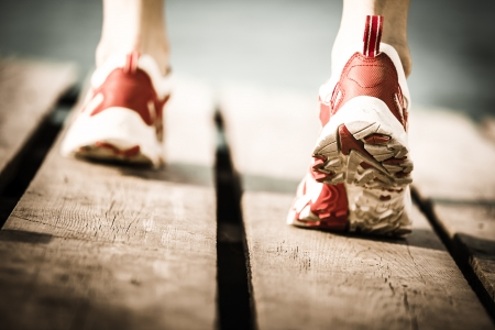 Feet of jogging person  Healthy lifestyle concept