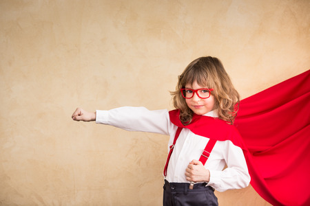 Photo for Portrait of child superhero businessman in office. Success, creative and start up concept - Royalty Free Image