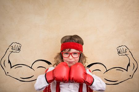 Photo pour Funny winner child. Success, leader and business concept - image libre de droit