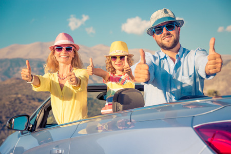 Photo for Happy family travel by car. People having fun in the mountains. Father, mother and child on summer vacation. - Royalty Free Image