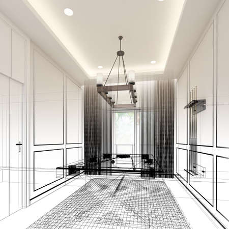 Photo pour snooker room interior design. 3d rendering - image libre de droit