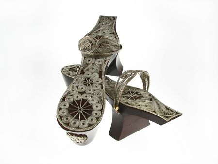 Turkish Bath Clogs, antique clogs the silver handmade top attached to wooden bottom.
