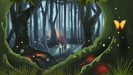 Vector of Fantasy Forest Magic Dark - ID:110154169 - Royalty Free Image -  Stocklib