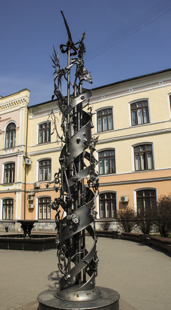 Monument of metal in the Ukrainian city of Ivano-Frankivsk