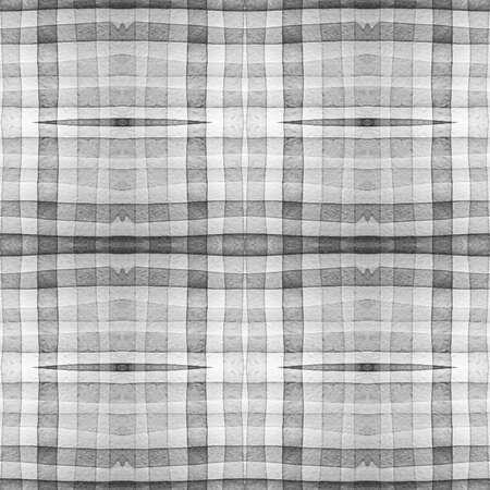 Gray and White Scottish Check. Watercolor Tartan Repeat. Woven Geometric Stripes for Cloth Design. Seamless Scottish Check. Scottish Checkered Tablecloth. Plaid Print. Abstract Scottish Check.