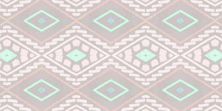 Photo pour Seamless Ethnic Wallpaper. Bohemian Ikat Texture with Drawn by Pen ZigZag. Beige Watercolor Shibori Border. Ethnic Background. Modern Mexican Design. Drawing Native Border. Ethnic Ornament. - image libre de droit