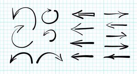 Set of hand-drawn vector arrow doodles