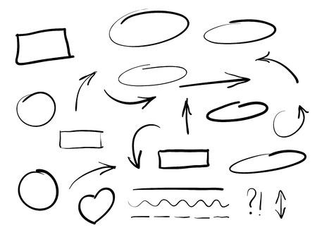 Illustration pour Arrows circles and abstract doodle writing design vector set - image libre de droit