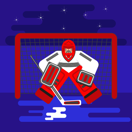 Ilustración de Hockey goalkeeper in flat stile protecting the gate. - Imagen libre de derechos
