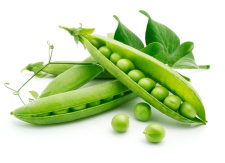 fresh pea fruit with green leaf isolated on white backgroundの写真素材