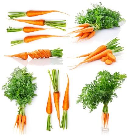 Foto für set fresh carrot fruits with green leaves isolated on white background - Lizenzfreies Bild