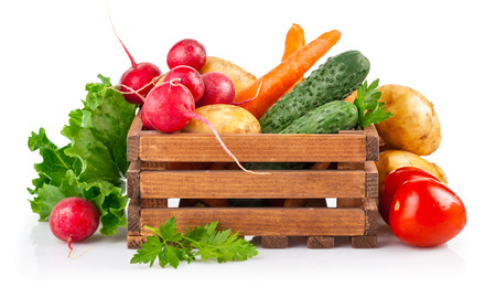 Photo for Fresh vegetables in wooden box. Isolated on white background - Royalty Free Image