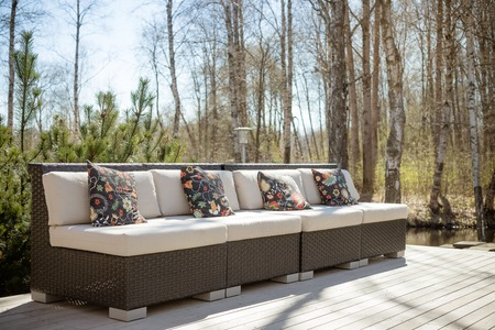 Large terrace patio with rattan garden furniture set.Wooden ...