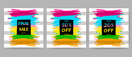 Sale posters set. Colorful brush strokes backgrounds.