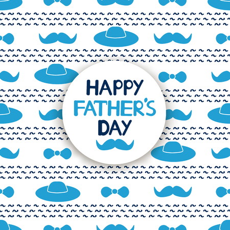 Happy Father's day card with blue mustache, hat and bow tie on the ...