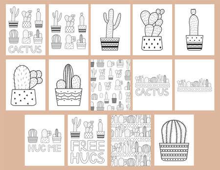 Illustration pour Cactuses. Coloring pages set. Vector illustration. - image libre de droit
