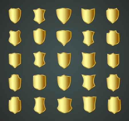 Golden shield design set with various shapes.