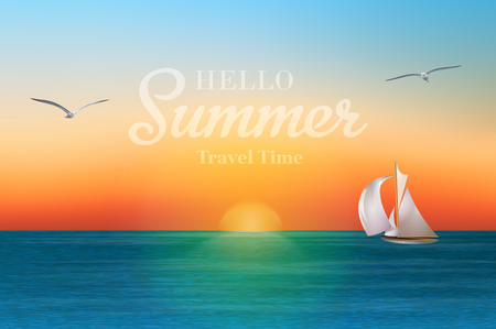 Illustration pour Sunrise in the sea with a sailboat and seagulls. Summer holidays vector background.   - image libre de droit