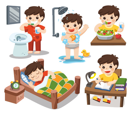 Isolated vector. The daily routine of a cute boy on a white background. [sleep, brush teeth, take a shower, eat salad, read].