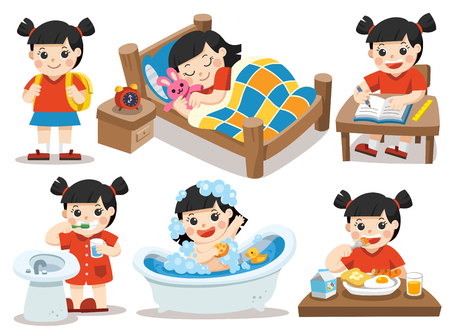Isolated vector. The daily routine of Asian girl on a white background. [sleep, brush teeth, take a bath, eat, do homework]