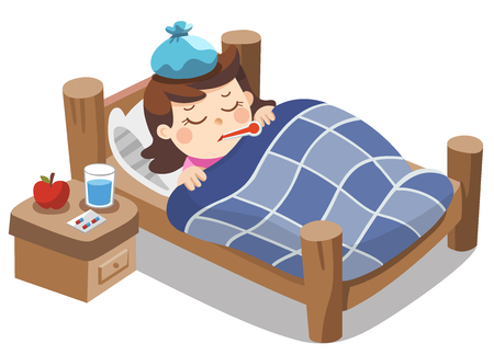 Illustration pour Sick cute girl sleep in bed with a thermometer in mouth and feel so bad with fever. - image libre de droit