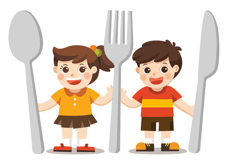 Illustration pour Kids Menu. Children with knife, spoon and fork. - image libre de droit