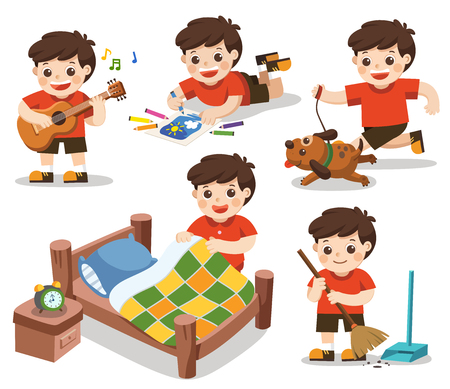 Isolated vector. The daily routine of A cute boy on a white background.[Make a bed, Do homework , Drawing, Play guitar, Run with his dog, Clean]