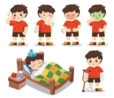 Illustration pour Set of A boy get sick. He has high temperature. stomach ache , Toothache. Vector illustration - image libre de droit