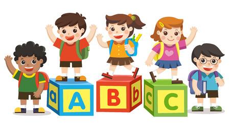 Illustration pour Back to School. Happy school kids with alphabet blocks. - image libre de droit