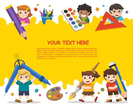 Photo pour Back to School. Happy school kids with elements of school. Template for advertising brochure. Children look up with interest. - image libre de droit