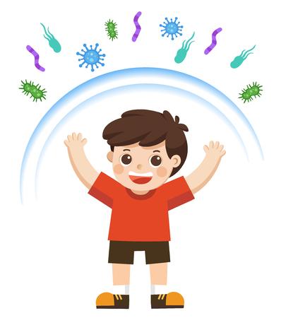 Illustration pour Healthy Boy reflect bacteria attack. Healthy lifestyle. - image libre de droit