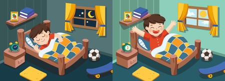 Illustration pour Isolated vector. A Little boy sleeping on tonight dreams, good night and sweet dreams. he wake up in the morning. - image libre de droit
