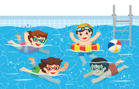 Illustration pour Cheerful and active Kids swimming in the swimming pool. Sport Team. Vector  illustration. - image libre de droit