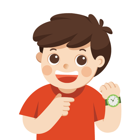 Illustration pour Happy boy showing wrist watch. Shows a time. Little boy pointing at his wrist watch posing. - image libre de droit