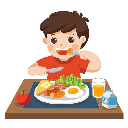 Vektor für A little boy happy to eat breakfast in the morning. - Lizenzfreies Bild